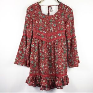Boho Floral Swing Mini Dress Lace Gypsy Red S